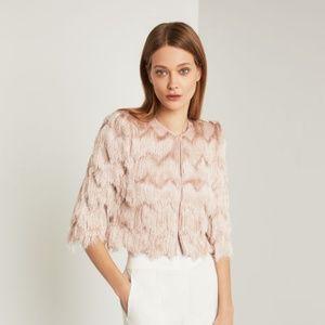 BCBG Jaxon Crochet-Fringe Jacket - Large